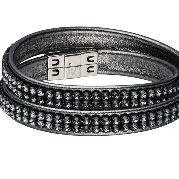 f278b9ed9 Swarovski Jewelry | Double Wrap Bracelet Gunmetal | Poshmark